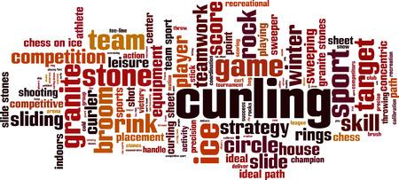 yog: Curling word cloud concept. Vector illustration