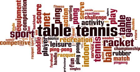 Tennis da tavolo, parola, nuvola concetto. Illustrazione vettoriale