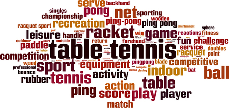 bounce: Table tennis word cloud concept. Vector illustration