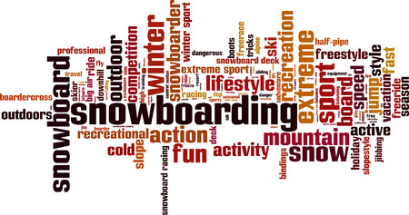 freeride: Snowboarding word cloud concept. Vector illustration