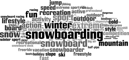 extreme sports: Snowboarding word cloud concept. Vector illustration