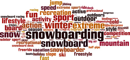bindings: Snowboarding word cloud concept. Vector illustration