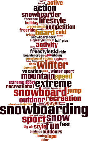 bindings: Snowboarding word cloud concept. Vector illustration