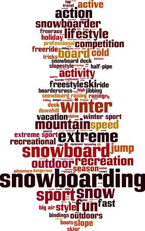 Snowboarding word cloud concept. Vector illustration