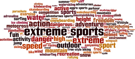 mountainbiking: Extreme sports word cloud concept. Vector illustration Illustration