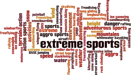 rallying: Extreme sports word cloud concept. Vector illustration Illustration