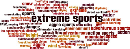 Extreme sports word cloud concept. Vector illustration Illustration