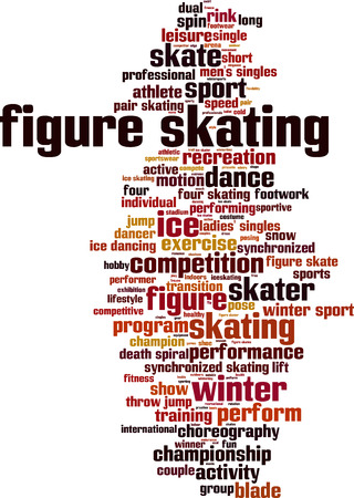 synchronized: Figure skating word cloud concept. Vector illustration