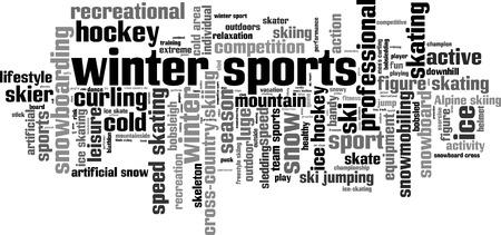 sport invernali: Inverno nuvola concetto di parola sport. Illustrazione vettoriale Vettoriali
