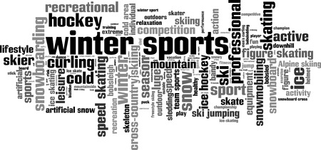 bobsled: Winter sports word cloud concept. Vector illustration