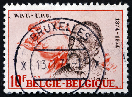heinrich: BELGIUM - CIRCA 1974: a stamp printed in the Belgium shows Heinrich von Stephan, General Post Director for the German Empire who Reorganized German Postal Service, circa 1974 Editorial