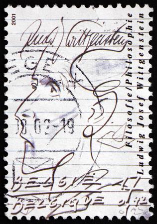 josef: BELGIUM - CIRCA 2001: a stamp printed in the Belgium shows Ludwig Josef Wittgenstein, Austrian-British Philosopher, circa 2001 Editorial