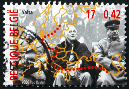 argonaut: BELGIUM - CIRCA 2000: a stamp printed in the Belgium shows President Franklin D. Roosevelt, Prime Minister Winston Churchill and Premier Joseph Stalin, Yalta Conference, circa 2000