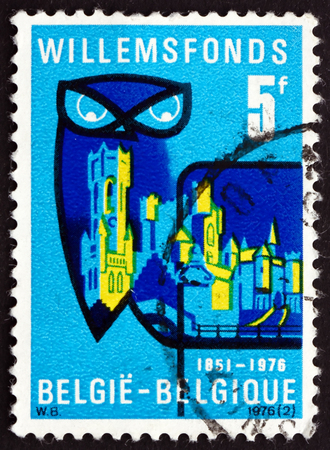 foundation problems: BELGIUM - CIRCA 1976: a stamp printed in the Belgium shows Willemsfonds Emblem, Willems Foundation, which Supports Flemish Language and Literature, 125th Anniversary, circa 1976