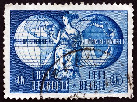 poststempel: BELGIEN - CIRCA 1949: einen Stempel in den Belgien gedruckt zeigt Allegorie der UPU (Universal Postal Union), circa 1949