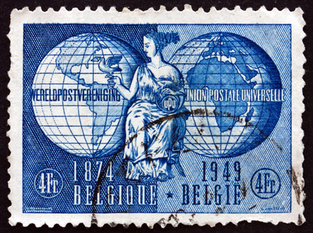 allegory: BELGIUM - CIRCA 1949: a stamp printed in the Belgium shows Allegory of UPU (Universal Postal Union), circa 1949 Editorial