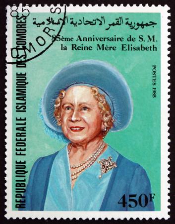 comoros: COMOROS - CIRCA 1985: a stamp printed in the Comoros shows Queen Elizabeth The Queen Mother, 85th Birthday, circa 1985 Editorial