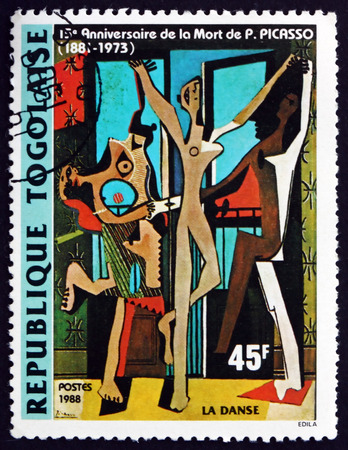 printmaker: TOGO - CIRCA 1988: a stamp printed in Togo shows The Dance, Painting by Pablo Picasso, Spanish Painter, circa 1988 Editorial