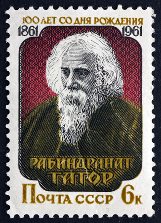 tagore: RUSSIA - CIRCA 1961: a stamp printed in the Russia shows Rabindranath Tagore, was a Bengali Writer and Poet, circa 1961