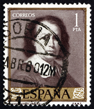 murillo: SPAIN - CIRCA 1960: a stamp printed in the Spain shows Self-portrait, Painting by Murillo, circa 1960 Editorial