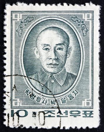 NOORD-KOREA - CIRCA 1963: een stempel gedrukt in Noord-Korea toont Pak Tal, Anti-Japanse Revolutionaire Fighter, circa 1963