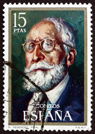 historian: SPAIN - CIRCA 1971: a stamp printed in the Spain shows Ramon Menendez Pidal, Spanish Philologist and Historian, circa 1971