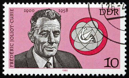 physicist: GERMANY - CIRCA 1980: a stamp printed in Germany shows Frederic Joliot-Curie, French Physicist, circa 1980