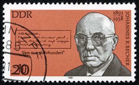 novelist: GERMANY - CIRCA 1981: a stamp printed in Germany shows Johannes Robert Becher, German Politician, Novelist and Poet, circa 1981 Editorial