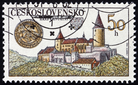 czechoslovakia: CZECHOSLOVAKIA - CIRCA 1982: a stamp printed in the Czechoslovakia shows Krivoklat Castle, is Located in the Central Bohemia Region of the Czech Republic, circa 1982