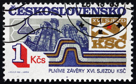 chemical  industry: CZECHOSLOVAKIA - CIRCA 1983: a stamp printed in the Czechoslovakia shows Chemical Industry, 16th Party Congress Achievements, circa 1983