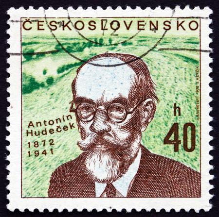 commemorate: CZECHOSLOVAKIA - CIRCA 1972: a stamp printed in the Czechoslovakia shows Antonin Hudecek, Czech Painter, circa 1972 Editorial