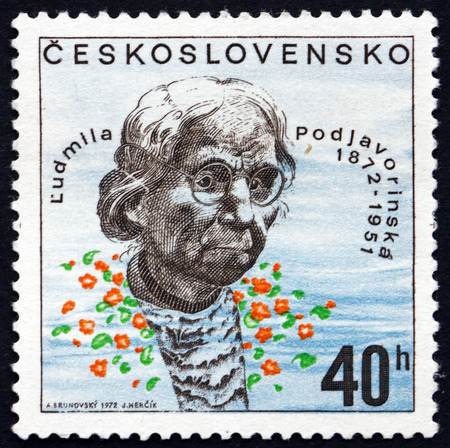czechoslovakia: CZECHOSLOVAKIA - CIRCA 1972: a stamp printed in the Czechoslovakia shows Ludmila Podjavorinska, Writer, circa 1972
