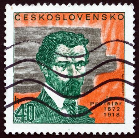 czechoslovakia: CZECHOSLOVAKIA - CIRCA 1972: a stamp printed in the Czechoslovakia shows Jan Preisler, Czech Painter and Art Professor, circa 1972