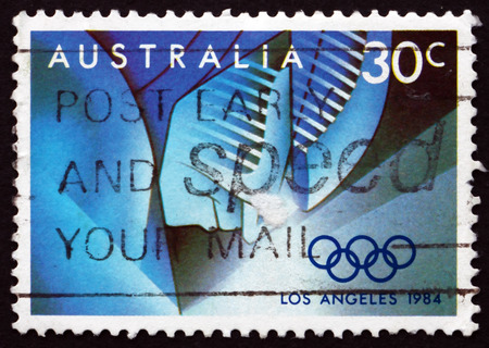 olympics: AUSTRALIA - CIRCA 1984: a stamp printed in the Australia shows Event Stages, 1984 Summer Olympics, Los Angeles, circa 1984