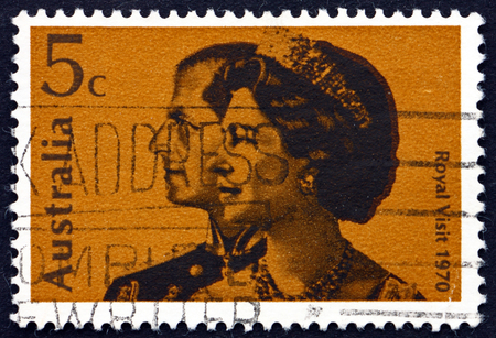australia stamp: AUSTRALIA - CIRCA 1970: a stamp printed in the Australia shows Queen Elizabeth II and and Prince Philip, Royal Visit to Australia, circa 1970 Editorial