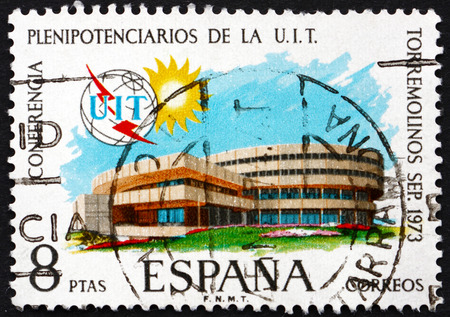 conference hall: SPAIN - CIRCA 1973: a stamp printed in the Spain shows Conference Hall, Torremolinos, circa 1973 Editorial
