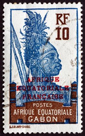 GABON - CIRCA 1926: a stamp printed in the Gabon shows Fang Warrior, circa 1926 Editorial