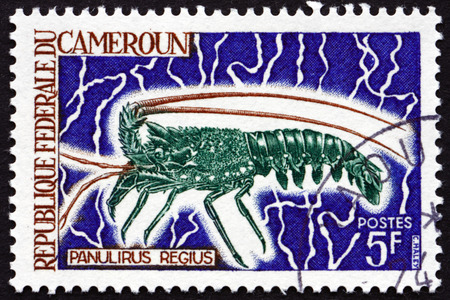 regius: CAMEROON - CIRCA 1968: a stamp printed in Cameroon shows Royal Spiny Lobster, Panulirus Regius, circa 1968