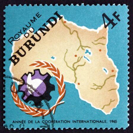un used: BURUNDI - CIRCA 1965: a stamp printed in Burundi shows Map of Africa and UN Development Emblem, circa 1965