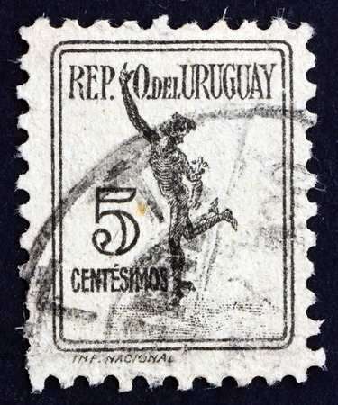 herald: URUGUAY - CIRCA 1927: a stamp printed in the Uruguay shows Mercury, Parcel Post Stamp, circa 1927 Editorial