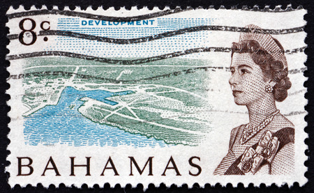 queen elizabeth ii: BAHAMAS - CIRCA 1967: a stamp printed in Bahamas shows Island Development and Queen Elizabeth II, circa 1967 Editorial