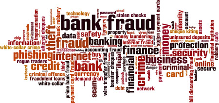 laundering: Bank fraud word cloud concept. Vector illustration Illustration