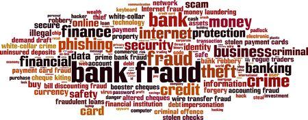 Bank fraud word cloud concept. Vector illustration Illustration