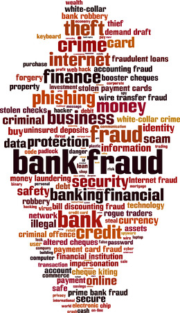 forgery: Bank fraud word cloud concept. Vector illustration Illustration