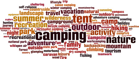 recreational climbing: Camping word cloud concept. Vector illustration