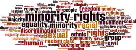 inequality: Minority rights word cloud concept. Vector illustration