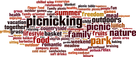 potluck: Picnicking word cloud concept. Vector illustration