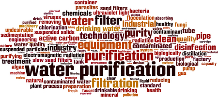 solids: Water purification word cloud concept. Vector illustration