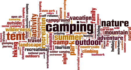 family outside: Camping word cloud concept. Vector illustration