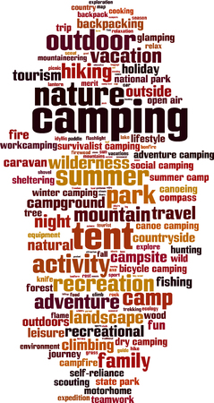 national parks: Camping word cloud concept. Vector illustration